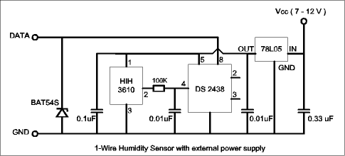 1-Wire Humidity Sensor with external power supply